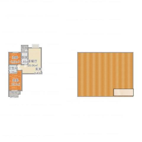 滨河绿洲2室2厅1卫1厨304.00㎡户型图