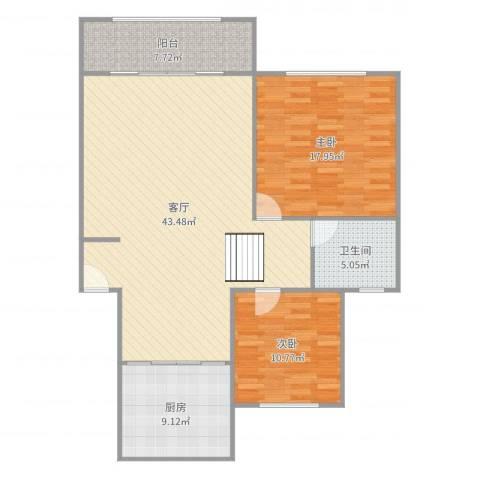 新世纪花苑三期2室1厅1卫1厨118.00㎡户型图