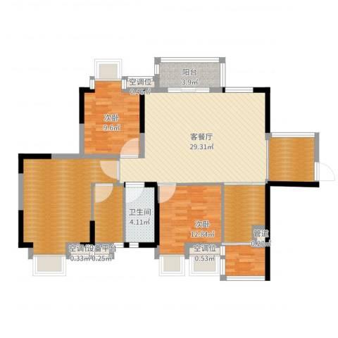 奥园金域2室2厅4卫2厨117.00㎡户型图