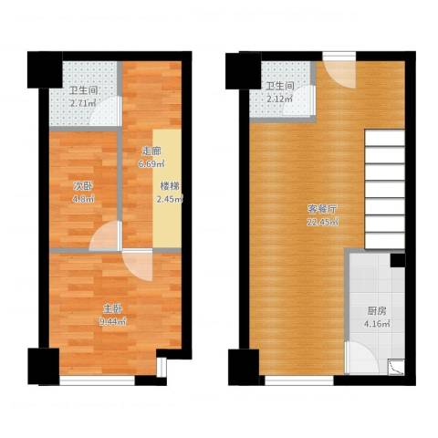 宝能青春汇2室2厅2卫1厨65.00㎡户型图