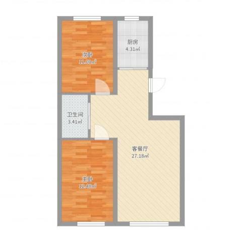 辽阳泛美华庭2室2厅1卫1厨73.00㎡户型图