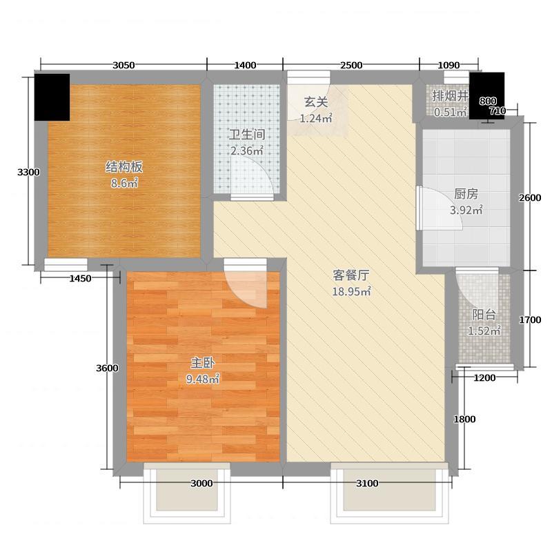 新�I中心53.00㎡D户型1室1厅1卫1厨