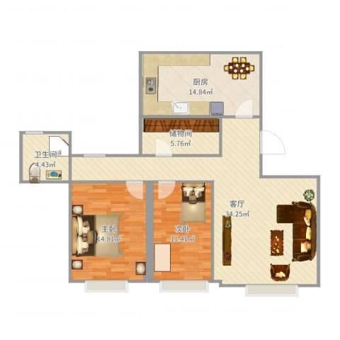 奥林匹克村2室1厅1卫1厨107.00㎡户型图