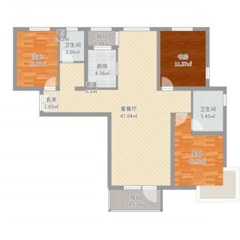 水云间3室2厅2卫1厨126.00㎡户型图