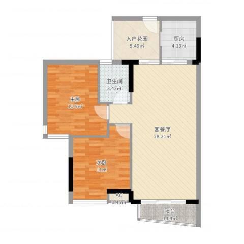 星城香洲花园2室2厅1卫1厨85.00㎡户型图