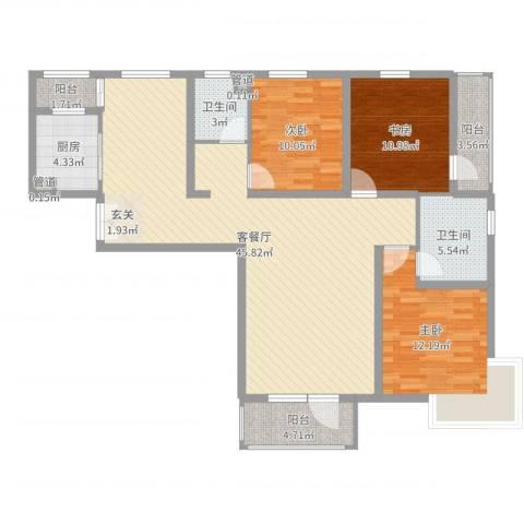 水云间3室2厅2卫1厨128.00㎡户型图