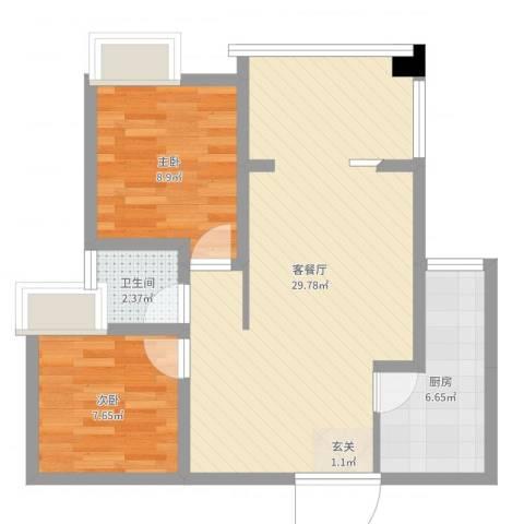 鸥鹏泊雅湾2室2厅1卫1厨69.00㎡户型图