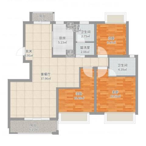 幸福壹号公馆3室2厅2卫1厨115.00㎡户型图