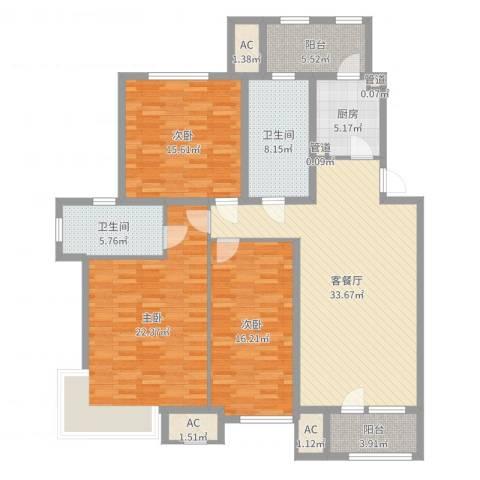 嘉华帕醍欧3室2厅2卫1厨151.00㎡户型图
