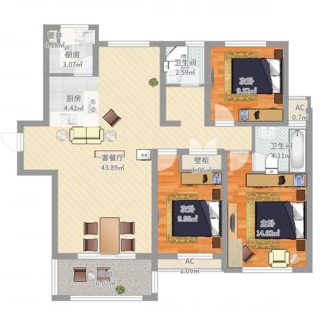 高速滨湖时代广场3室2厅2卫1厨139.00㎡户型图