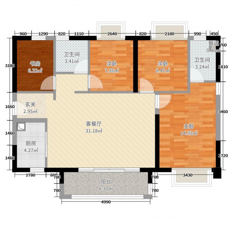 佛山时代廊桥115.00㎡1座1单元户型4室4厅2卫1厨