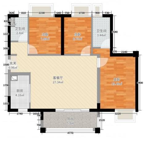 佛山时代廊桥3室2厅2卫1厨98.00㎡户型图