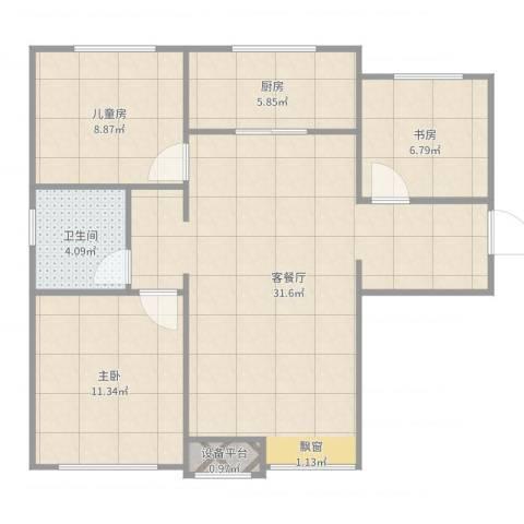 万科金域长春3室2厅1卫1厨87.00㎡户型图