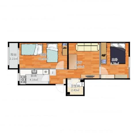 广渠门外南街2室1厅1卫1厨55.00㎡户型图