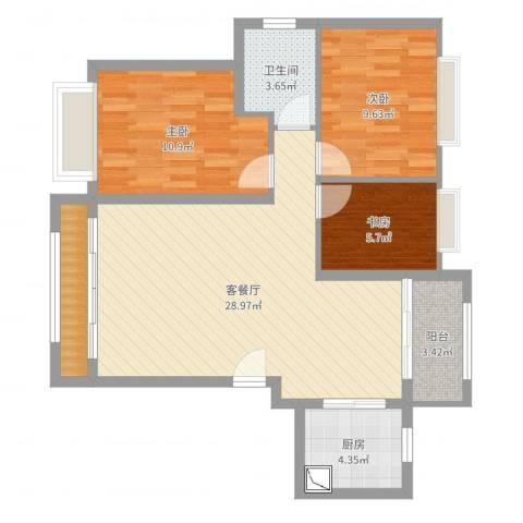 秋谷月半弯4栋21033室2厅1卫1厨87.00㎡户型图