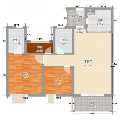 奥园黄金海岸3室2厅2卫1厨93.00㎡户型图