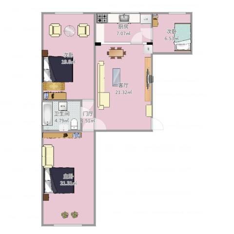 团结小区3室1厅1卫1厨103.00㎡户型图