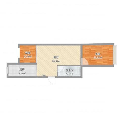 丽晶公馆2室1厅1卫1厨59.00㎡户型图