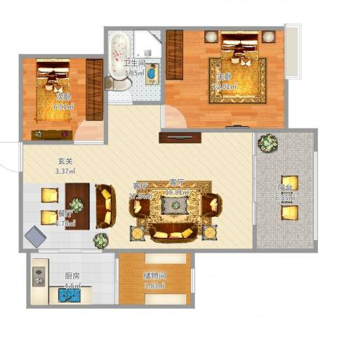 天瑞国际2室1厅1卫1厨82.00㎡户型图