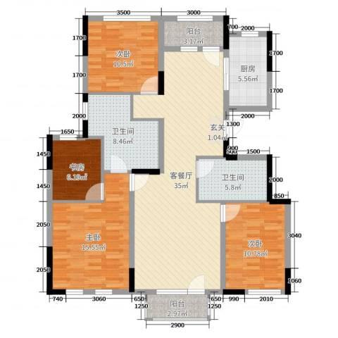 绿地中央墅4室2厅2卫1厨135.00㎡户型图