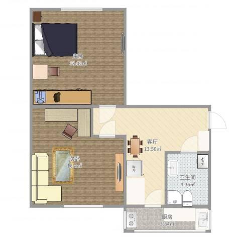 红桥区洪湖里奋斗楼2室1厅1卫1厨70.00㎡户型图