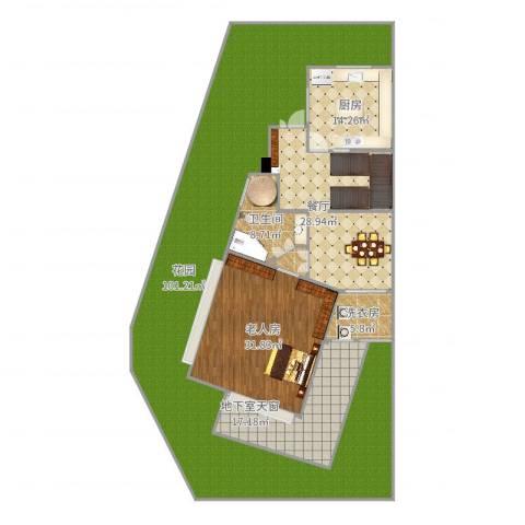 嘉定湖畔天下1F1室1厅1卫1厨262.00㎡户型图