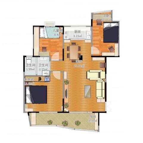 振业山水名城2室1厅2卫1厨82.90㎡户型图