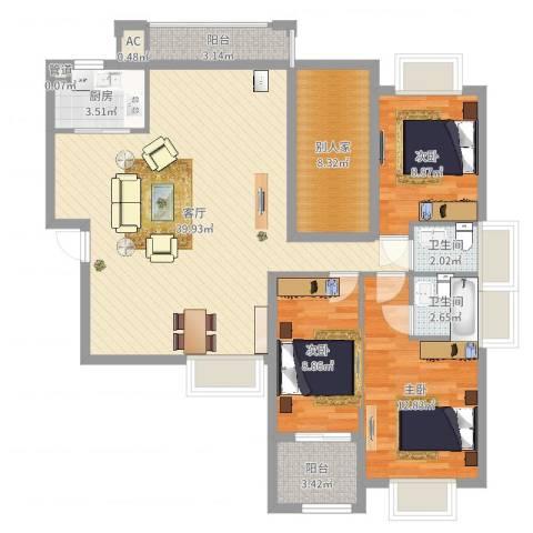 紫荆花园3室1厅2卫1厨118.00㎡户型图