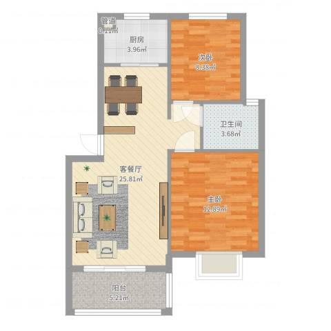 鸿威鸿景雅园2室2厅1卫1厨75.00㎡户型图