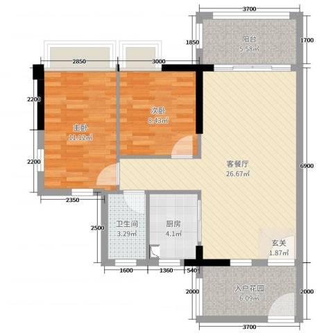 正德天水湖2室2厅1卫1厨82.00㎡户型图