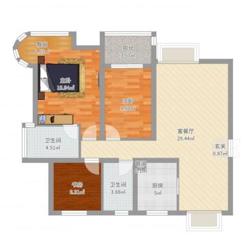 孔目江1号3室2厅2卫1厨97.00㎡户型图