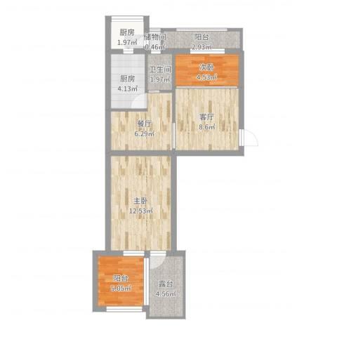 北京市朝阳区西坝河中里2室2厅1卫2厨66.00㎡户型图