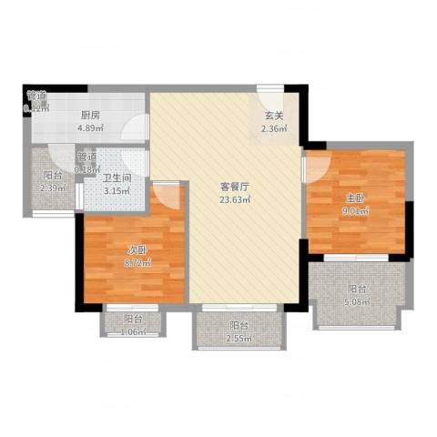 碧桂园凤凰城2室2厅1卫1厨76.00㎡户型图