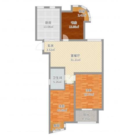富都豪园3室2厅1卫1厨125.00㎡户型图