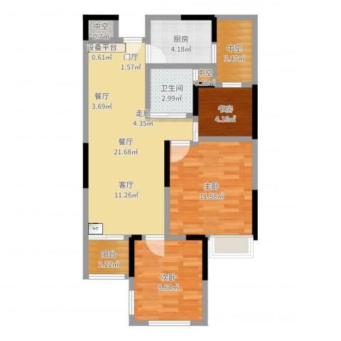 雅戈尔新东城3室1厅1卫1厨75.00㎡户型图