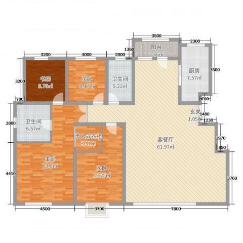绿地中央墅4室2厅2卫1厨183.00㎡户型图