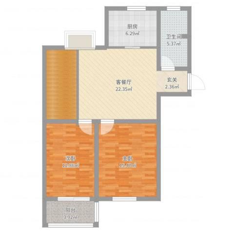 洪福小区三期2室2厅1卫1厨92.00㎡户型图