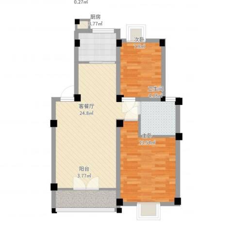 世纪名门2室2厅1卫1厨84.00㎡户型图