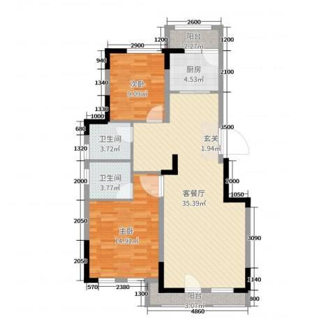 绿地中央墅2室2厅2卫1厨100.00㎡户型图