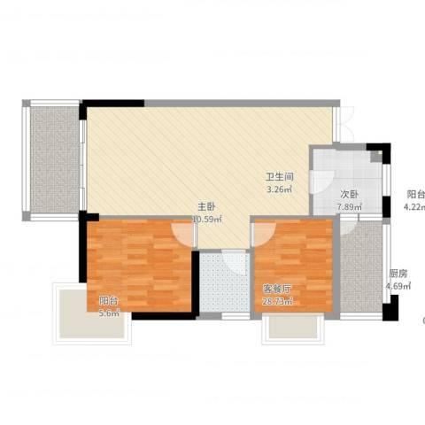 海岸南山2室2厅1卫1厨92.00㎡户型图