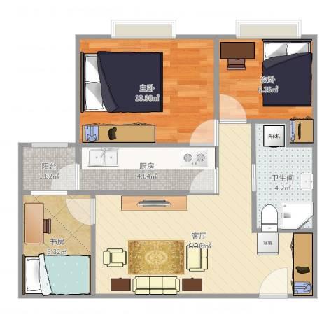 广渠家园3室1厅1卫1厨63.00㎡户型图