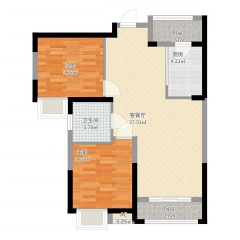 弘建一品2室2厅1卫1厨88.00㎡户型图