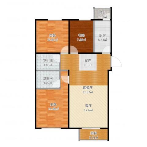 禧福泛海时代3室2厅2卫1厨103.00㎡户型图