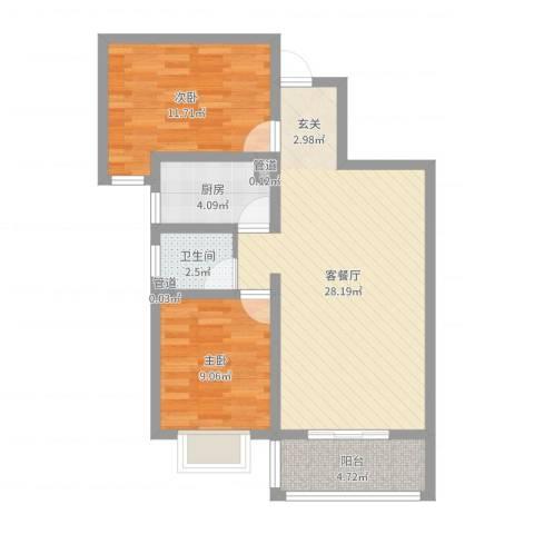 都市怡景三期2室2厅1卫1厨76.00㎡户型图