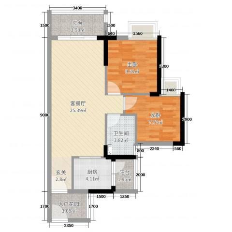 广铝荔富湖畔2室2厅1卫1厨76.00㎡户型图