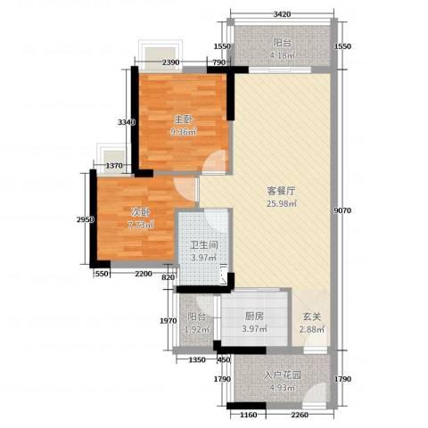 广铝荔富湖畔2室2厅1卫1厨77.00㎡户型图