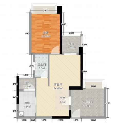 悦盈新城1室2厅1卫1厨73.00㎡户型图
