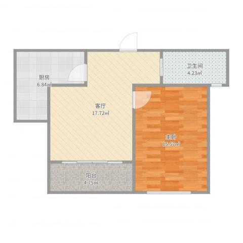 浦江东旭公寓1室1厅1卫1厨61.00㎡户型图