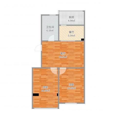 西马庄园2室2厅1卫1厨76.00㎡户型图