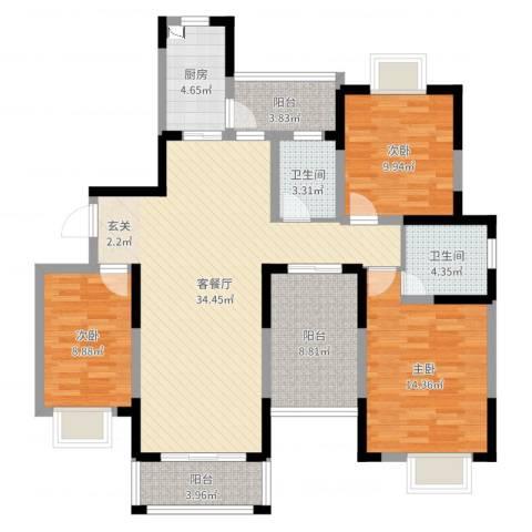 大唐金城3室2厅2卫1厨121.00㎡户型图